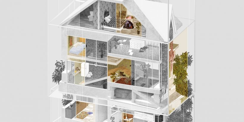 Architectural collages by Evan Wakelin convey the experience of