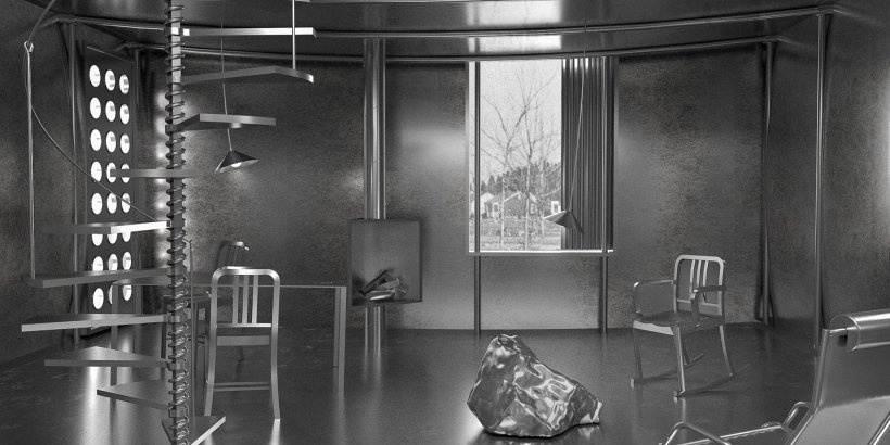 The interior of Graham's aluminum workers' cottage