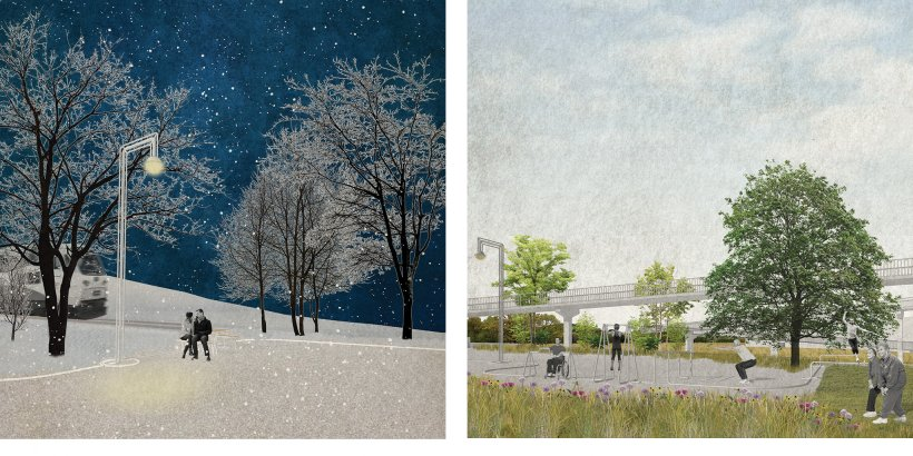 Renderings of Louisa and Allison's design interventions