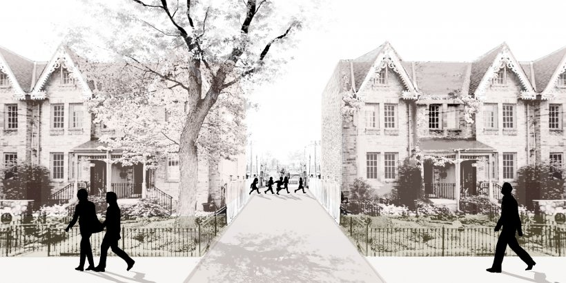 A rendering of children walking on a pathway between homes