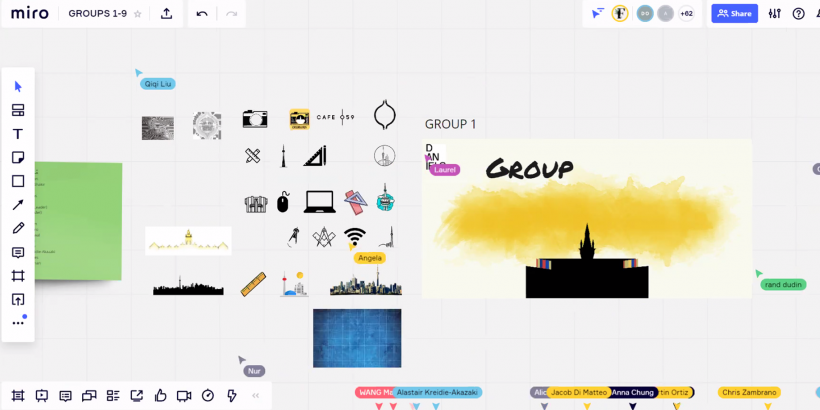 A screenshot of a Miro-based banner-making session during Orientation 2020