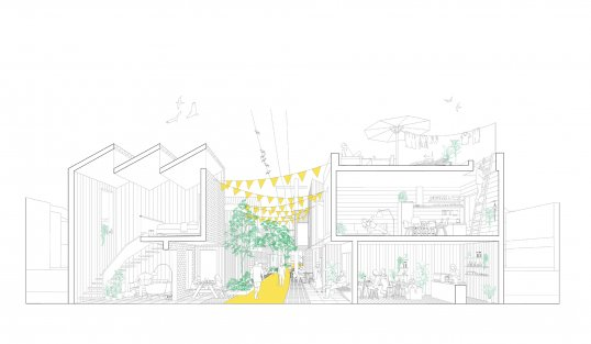 A rendering of the streetscape in XS Spaces.