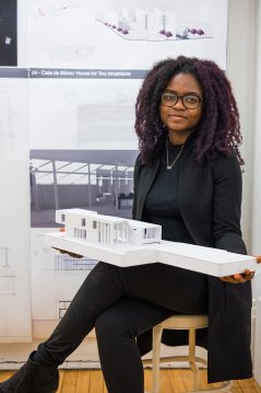 Architecture student with model