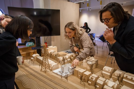 Architecture students with architectural models