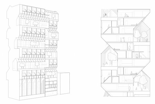 Axonometric view and section of Katharina Vrolijk's building