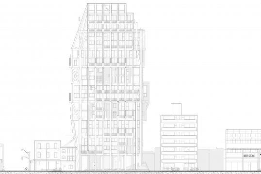 Elevation view of Tom Tran's building
