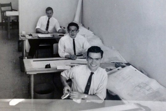 Unknown author (student summer job), Toronto, May 1959. George Baird (front), Ted Teshima (behind). Courtesy of Canadian Architectural Archives, University of Calgary.