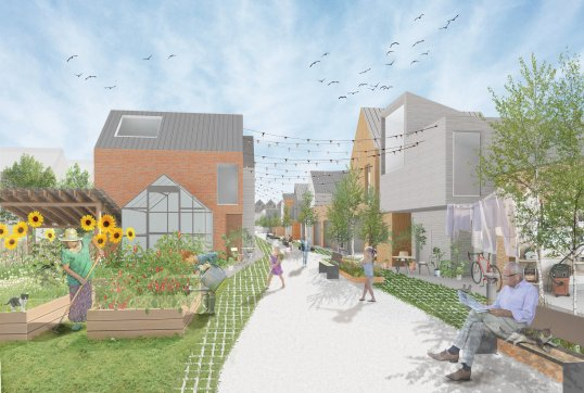 A daytime rendering of the laneway intervention proposed by XS Spaces.