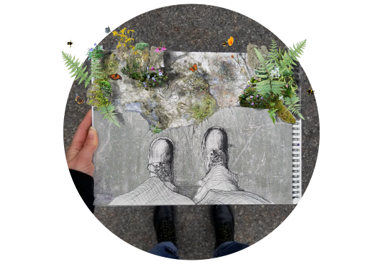 In a sketch for Embodied Energy, a hand holds an image of plants sprouting through the pavement.