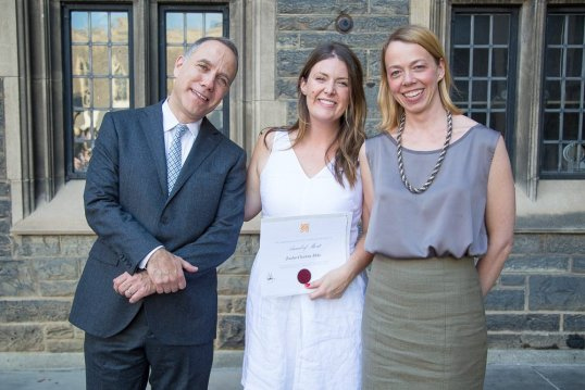 Jordan Duke, with Dean Richard Sommer and Associate Professor Alissa North, Director of the Master of Architecture Landscape program, at the 2016 Graduation Awards Ceremony