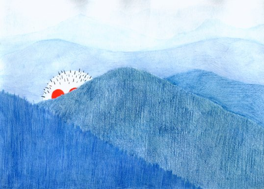 Basim Magdy, Blue Mountains, 2004.  Drawing on paper. Image courtesy the artist.