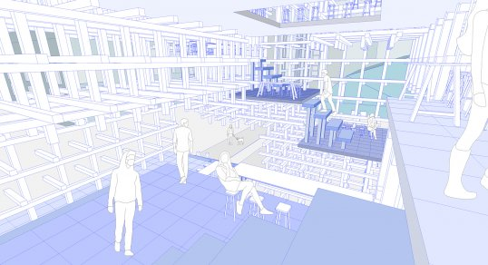 Rendering of the interior of Christopher Law's building