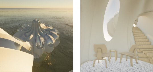 Renderings of David Kalman, Rick Schutte, and Randa Omar's Pod House