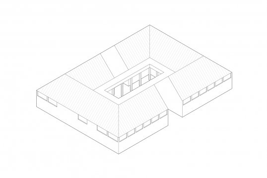 An axonometric view of A Flowering Isadora in the Courtyard