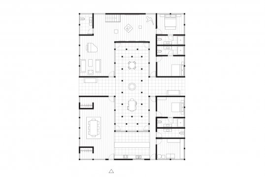 A floor plan of A Flowering Isadora in the Courtyard