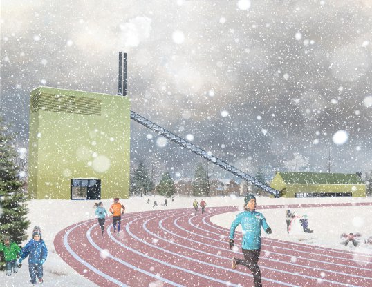 A running track is heated by a district waste-to-energy plant