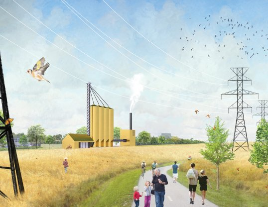 A rendering of one of Isaac's Meadow Corridor Biomass plants
