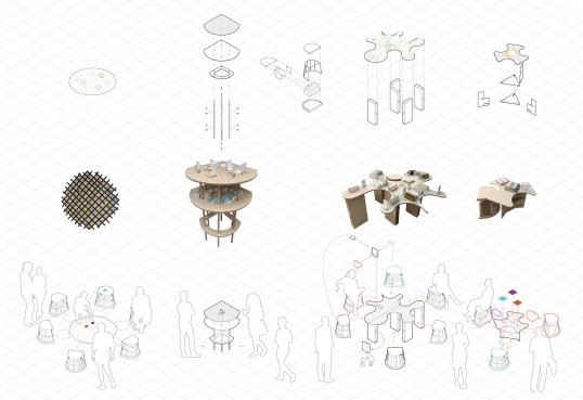 Illustrations of Isabel's various furniture pieces