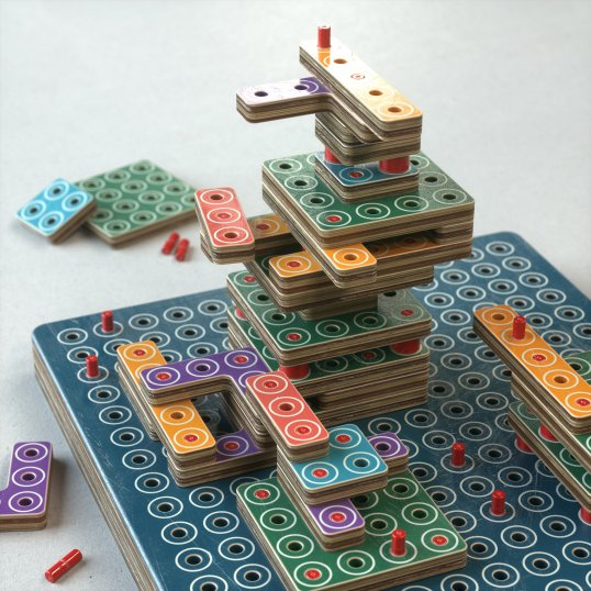 A tower-building toy