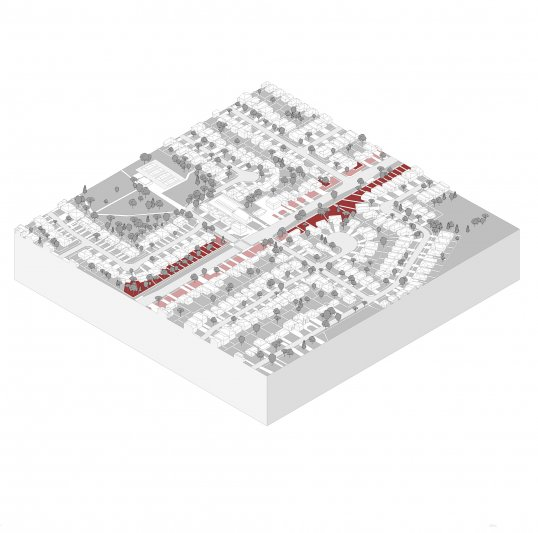 A map of Mohammad's study area, indicating the presence of backyards facing a main street
