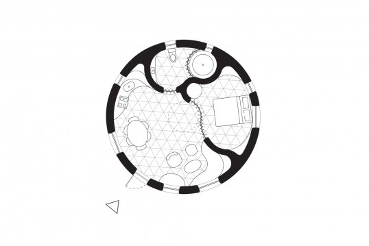 A floor plan of Room of the Future: Cocktail Edition